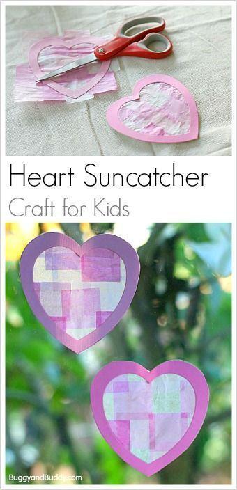 Easy Valentine's Day Craft for Kids- Heart Suncatchers Using Tissue Paper! ~ http://BuggyandBuddy.com