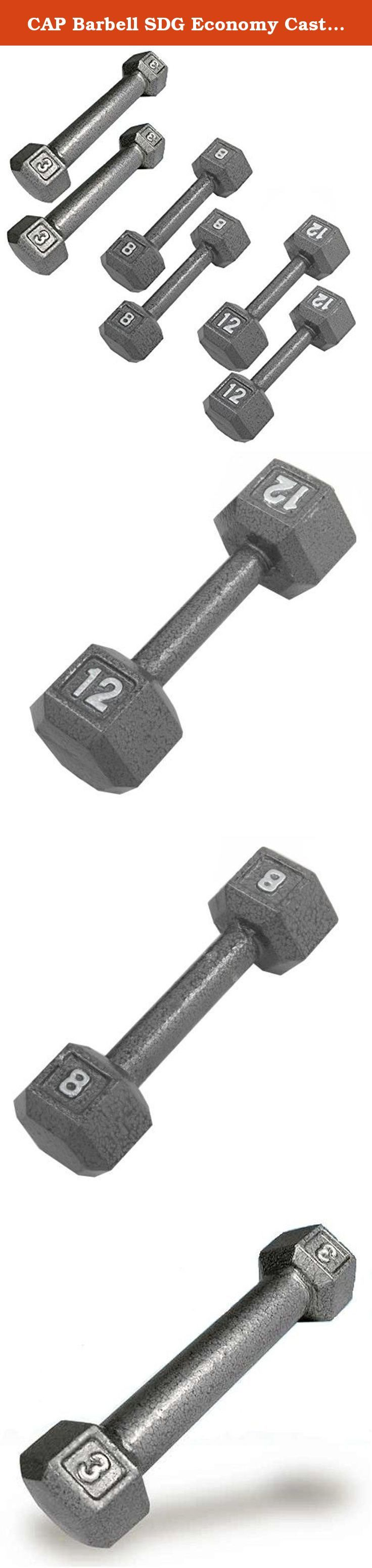 CAP Barbell SDG Economy Cast Iron Hex Dumbbell Set - 3, 8, 12 lbs (3 pairs) - For Beginners, Rehabilitation, High Rep Training. Economy Cast Iron Hex Dumbbell Sets from CAP Barbell - Hex dumbbell sets are often the perfect dumbbell choice for home gym and garage gym use. They are economical and space efficient and for a lot of people that is the most important criteria when purchasing dumbbells for home use. Hexagonal dumbbell heads are non-rolling when set down on the floor or racks…