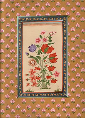 Indian Floral Flower Miniature Painting Moghul Mughal Handmade Watercolor Art.