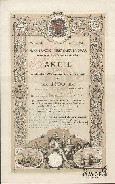 A1496 Muzeum cennych papiru /  První pražský měšťanský pivovar (Erstes Prager Bürgerliches Bräuhaus) akcie 1 200 Kč, Praha 20.08.1930