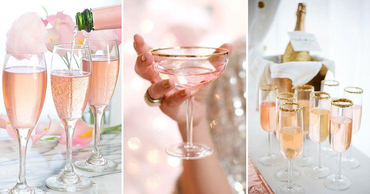 Drinkar med guld, rosé och glitter passar perfekt till nyårsafton då man gärna vill ha det där lilla extra.