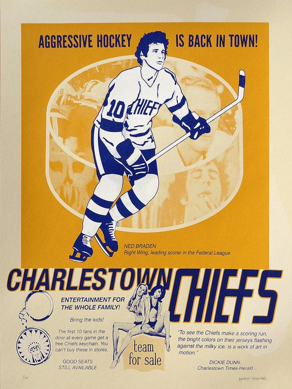 """It Looks Good and It Sells Hockey"" - a limited edition screen print inspired by Slap Shot."