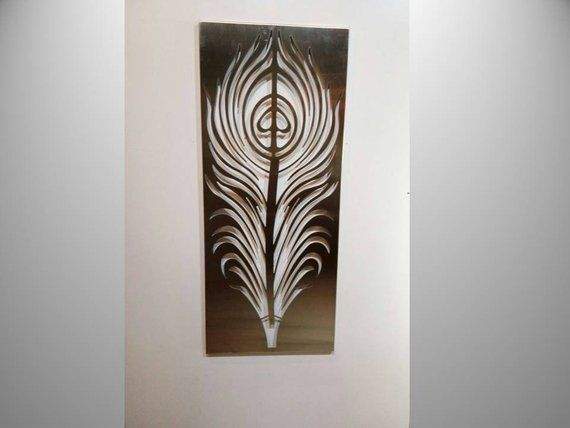 Feather Metal Wall Art Stainless Steel Art Wall Mural Metal Wall Hanging Modern Wall Sculptures Stainless Steel Art Metal Wall Art