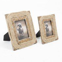 Timeless family photos would look lovely in these rope frames by www.wickeremporium.ca