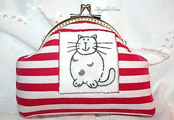 red and white striped cat cosmetic bag cat by AngelineRosePurse