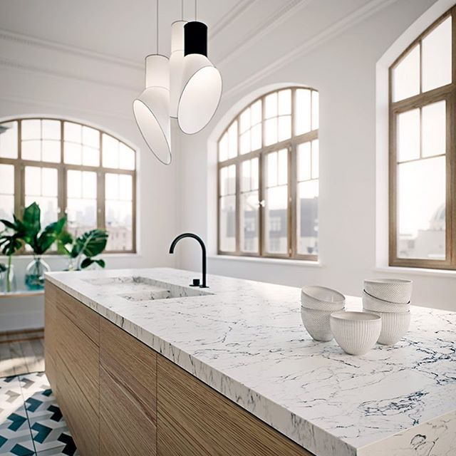 Repost From Caesarstone Countertops This Beautiful White Attica Quartz Is Available Quartz Kitchen Countertops Stone Countertops Kitchen Caesarstone Kitchen