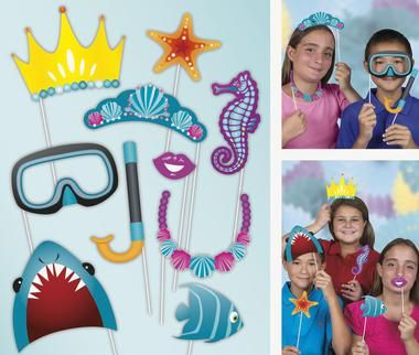 Swim under the sea and take some pictures with these Sea Life Photo Props! The set includes 10 cardboard photo props with sticks.Includes (1) Sea Life Photo Prop Set