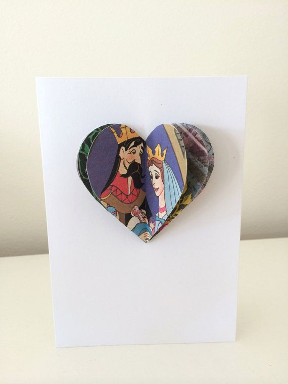 Valentine's Day Sleeping Beauty 3D heart card  handmade from vintage Disney children's book by ellabetsyboo