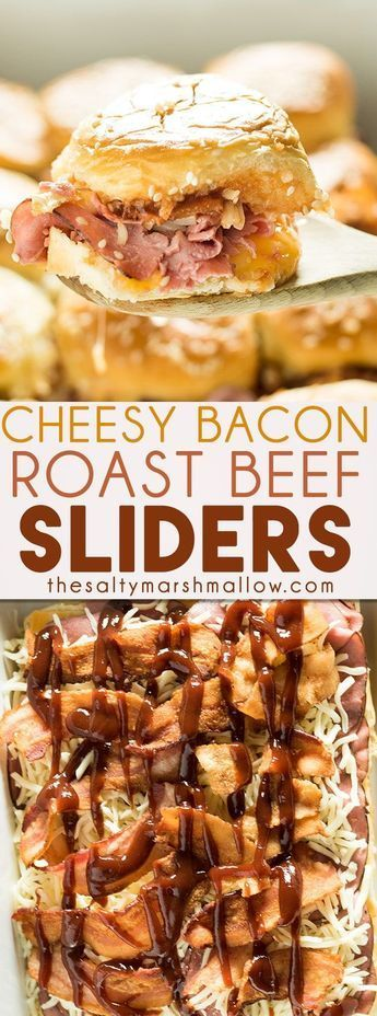 Cheesy Bacon Roast Beef sliders are one of the best slider recipes ever! Soft Hawaiian rolls are filled with roast beef, two kinds of cheese, bacon, and bbq sauce! These sliders come together so quick and easy. They're the perfect game day, potluck, or tailgating food. Or, they are a crowd-pleasing easy weeknight dinner too!