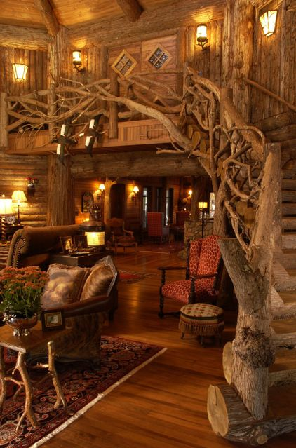 Tree House Stairs, Minnesota. ( Idea for upstairs ballroom. Prominent doors & fully open loft make the room feel part of the downstairs reception. The visibility & gentle mystery draw u into the room.)