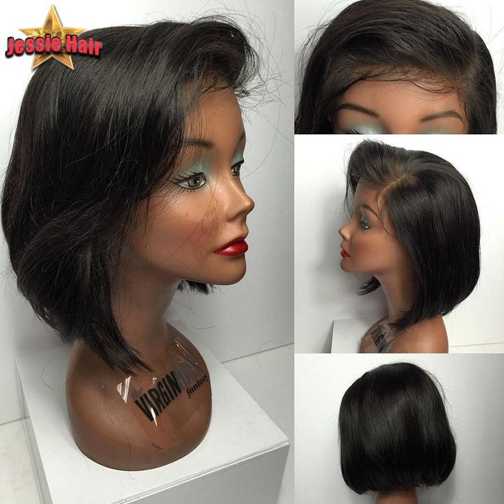 74.20$  Buy now - http://ali2gv.worldwells.pw/go.php?t=32697099610 - Short Human Hair Bob Wigs For Black Women Virgin Brazilian Straight Bob Lace Front Human Hair Wigs African American Bob Lace Wig