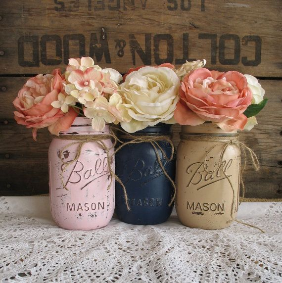 Mason Jars, Painted Mason Jars, Rustic Wedding Centerpieces, Baby Shower Decorations, Navy blue, pink and tan Mason Jars