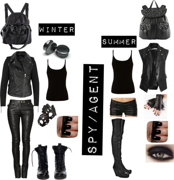 """My spy or agent outfits in the summer and winet!!!!"" by sara-bvb-army-8 ❤ liked on Polyvore"