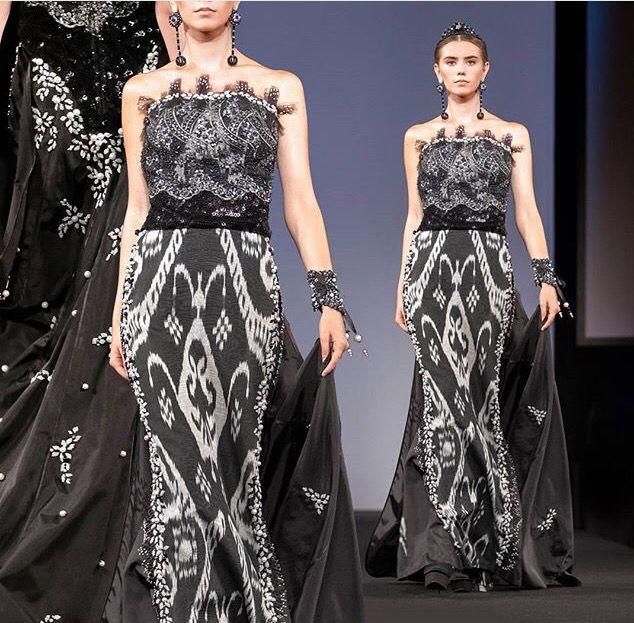 """Gorgeous dress by LALI fashion house Uzbekistan! Ikat dress embellished with """"küz munchoq"""" beads."""