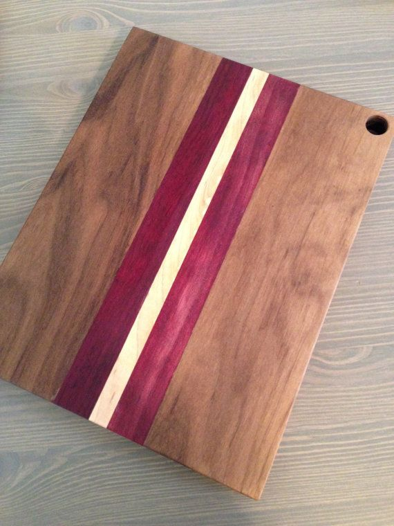 Wood Cutting Board  Maple Walnut and Purple Heart by AspenWoodShop