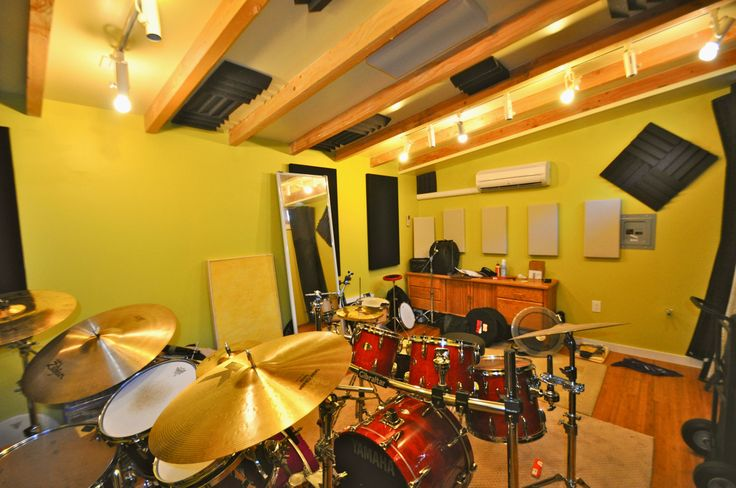 Interior of a 12x18 studio shed for Garden shed music studio