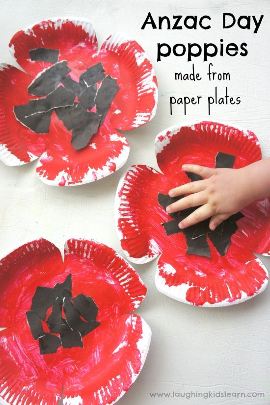 Anzac day poppy craft for kids using paper plates.