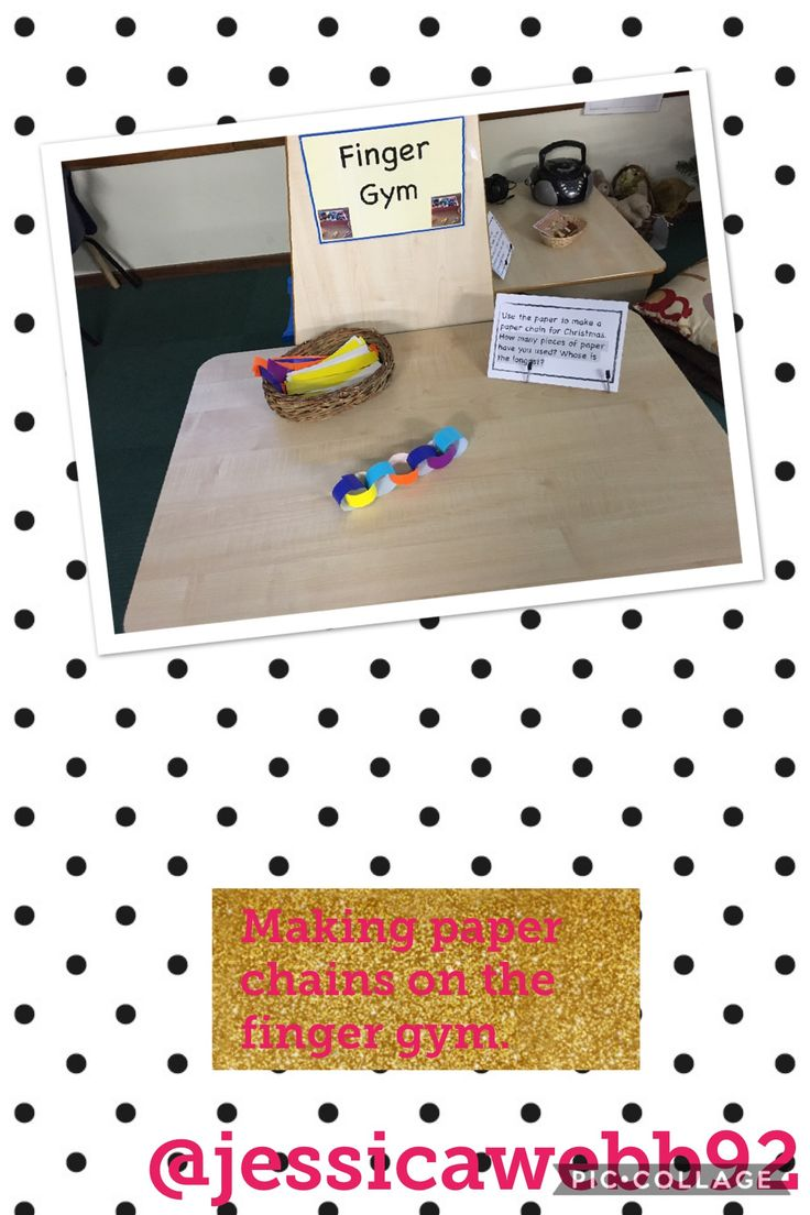 Making paper chains on the finger gym. How many links have you got? How many would you have if you added one more?