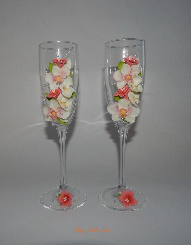 """Свадебные бокалы """"Тропический рай"""". Декор - полимерная глина."""