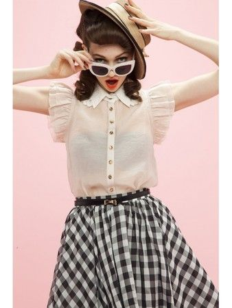 Honey mi Honey  Shoulder frill collar blouse pink
