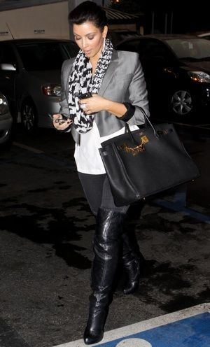 how to wear gray blazer casually | Kim Kardashian Wearing Gray Cropped Blazer in LA