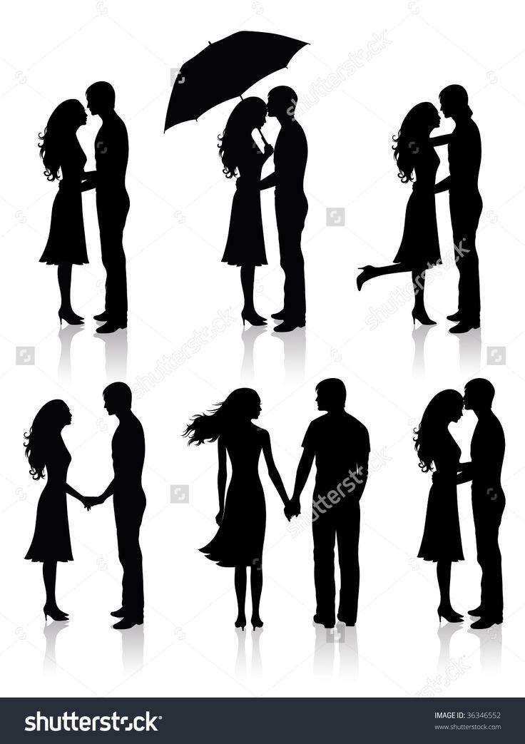 Different Silhouettes Of Couples. Ilustración vectorial en stock 36346552 : Shutterstock