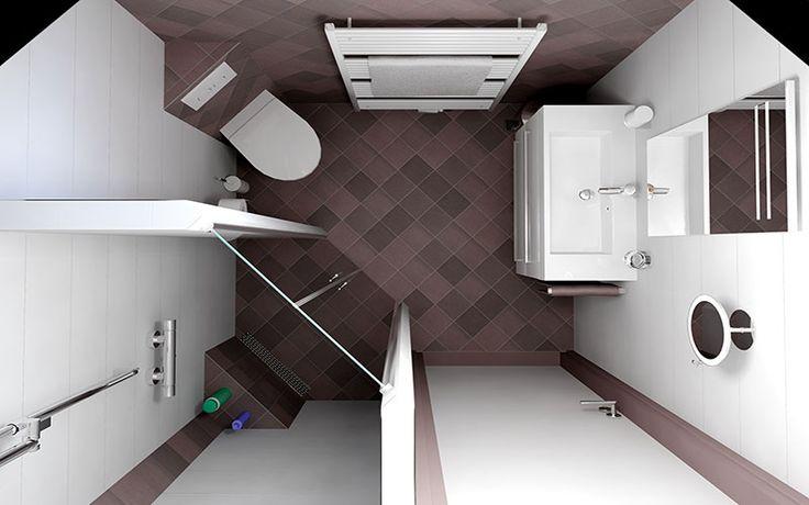 Kleine badkamer ontwerpen 190x185cm. Gratis 3D badkamerontwerp aanvragen op Sani-bouw.nl