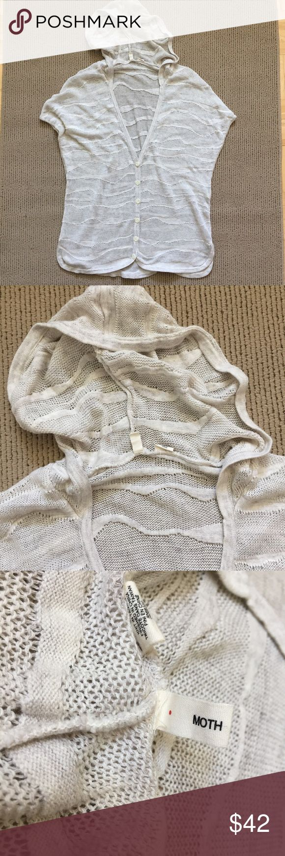 """Anthropologie Moth Sweater Hooded Cardigan Amazing soft and lightweight hoodie sweater. Deep V neck, buttons, and dolman style short sleeves with deep armpits. Looks awesome as a swimsuit cover-up or with your favorite cut-offs! Marled cream & beige.▪️size Small, runs big with lots of stretch ▪️100% cotton ▪️28"""" shoulder to hem. In great condition! For reference I'm 5'3"""" 115 lbs 34A Anthropologie Sweaters Cardigans"""