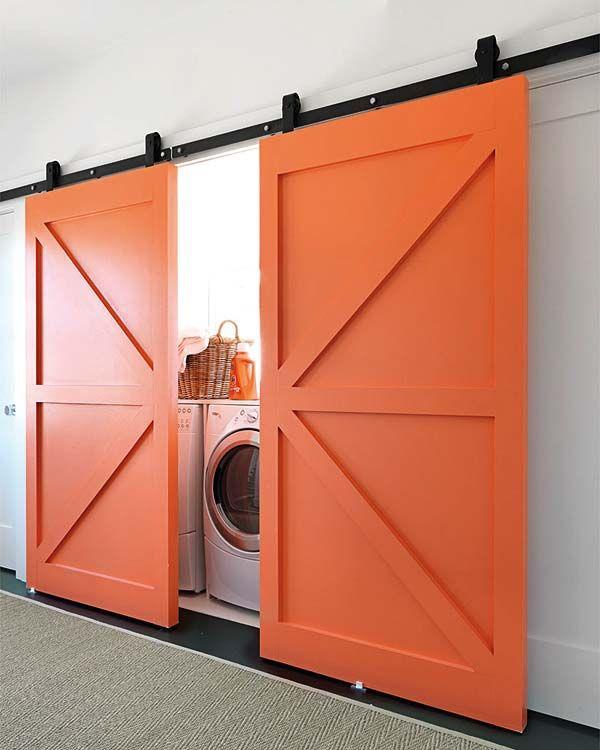 Loft Ideas:  Love these orange barn door sliders for INSIDE!  Great for a loft!