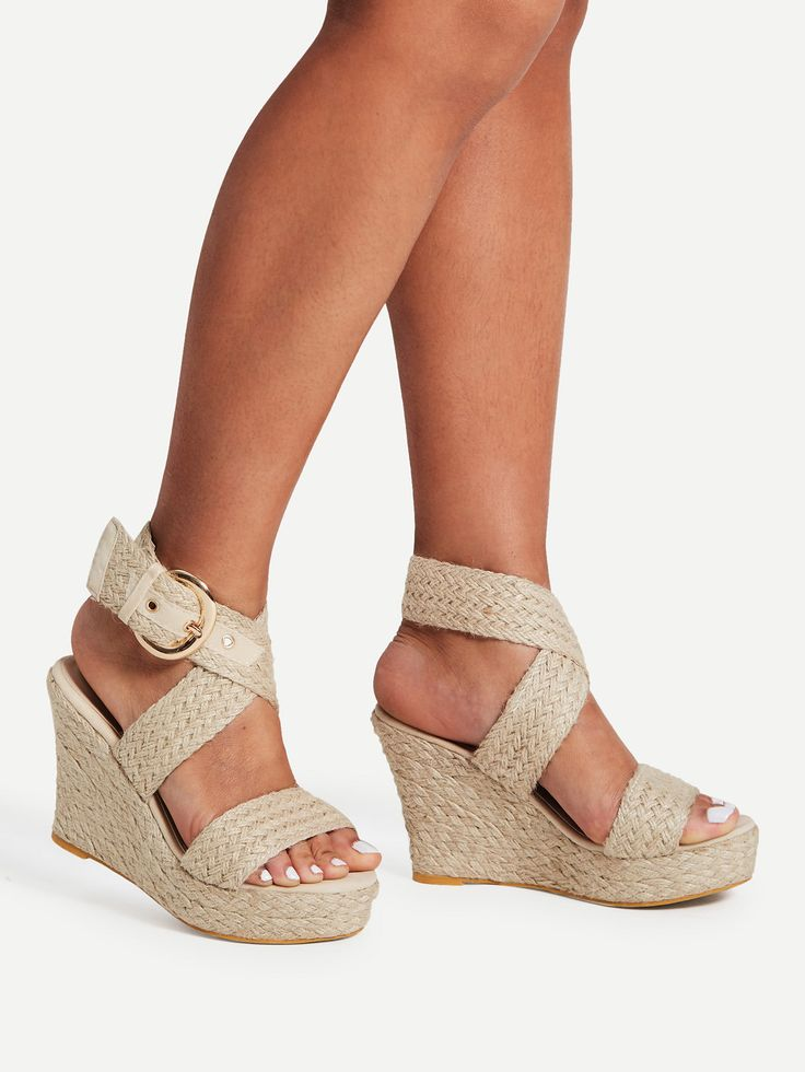 Shop Braided Design Criss Cross Wedge Sandals online. SheIn offers Braided Design Criss Cross Wedge Sandals & more to fit your fashionable needs.
