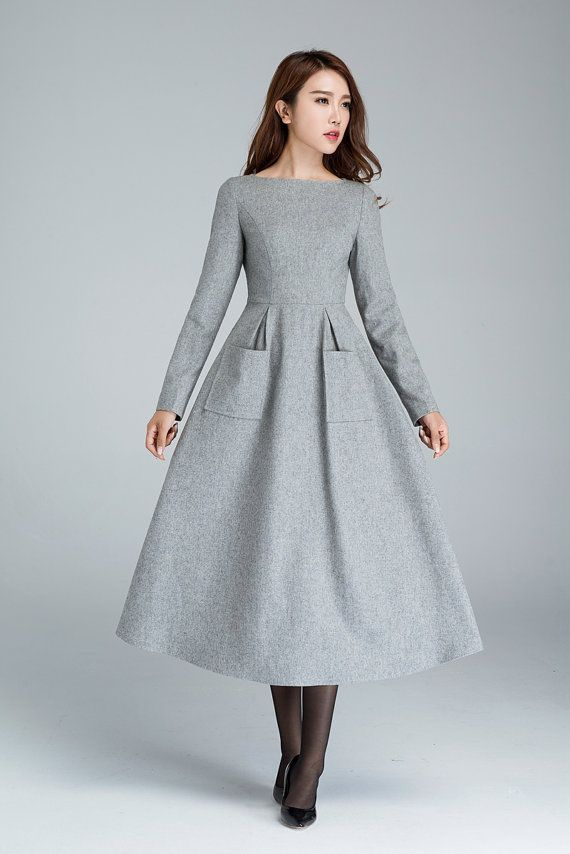 light grey wool dress with two big side pockets, winter dress, designers dress, …
