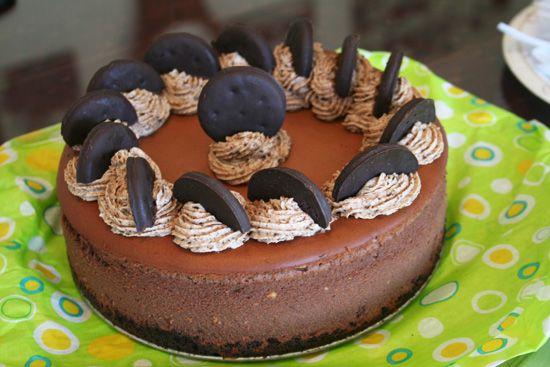 Fudge Truffle Cheesecake with Thin Mint Whipped Cream