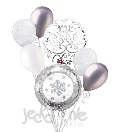 Silver Sparkling Snowflake Balloon Bouquet