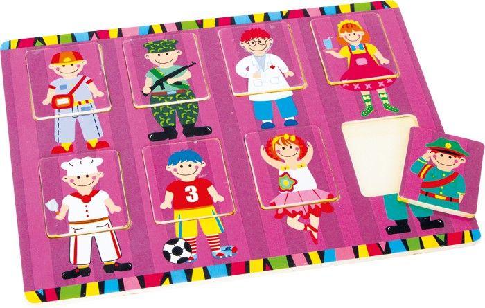 Een ballerina met de broek van een politieman en een soldaat met een tutu? Bij deze Base Toys Puzzel maken kinderen spelenderwijze met verschillende beroepen kennis.De puzzel is leerzaam en grappig.Afmetingen:8 delen: 30cm x 25cm x 1cm - Base Toys Puzzel Beroepen