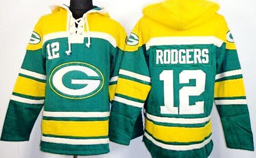 Designed to look like a Hockey jersey this Aaron Rogers Green Sawyer Pullover Hoodie is 100 % polyester with fleece lining . All number and names are sewn on for a more attractive look . Machine Washa