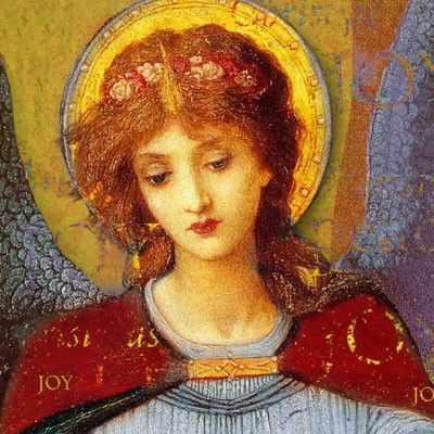 """detail from an oil painting by John Melhuish Strudwick entitled """"The Angel"""" John Melhuish Strudwick (6 May 1849 Clapham, London - 16 July 1937 Hammersmith), was a Victorian Pre-Raphaelite painter,"""