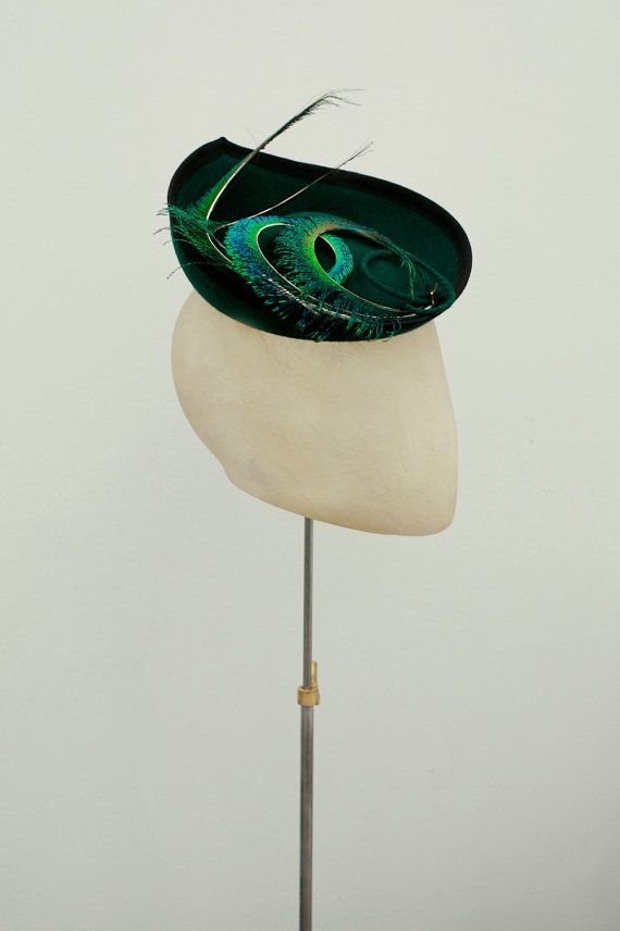 Forest Green Saucer Hat in Wool Felt Curled by MaggieMowbrayHats