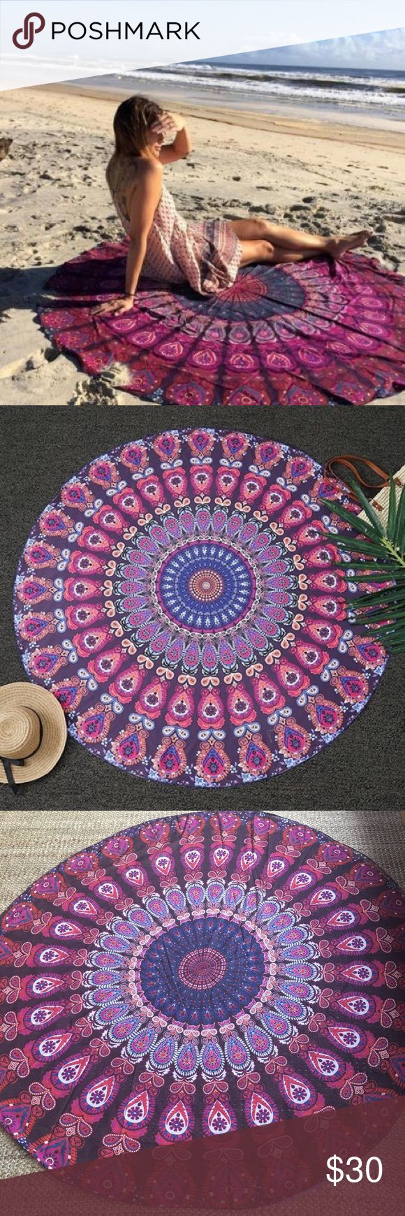 "Multipurpose round hippie boho mandala beach throw New , chiffon material , be creative and use it as wall hanging, tablecloth, beach cover up , couch cover ....., diameter approx 59"" Swim"