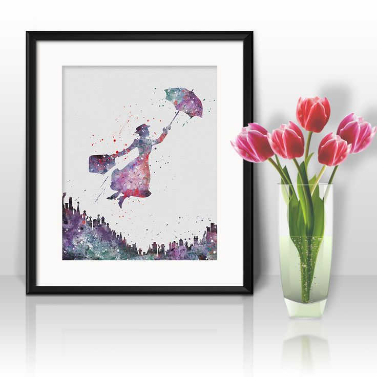 Mary Poppins nursery wall Art Print, Watercolor, painting, Home Decor Poster