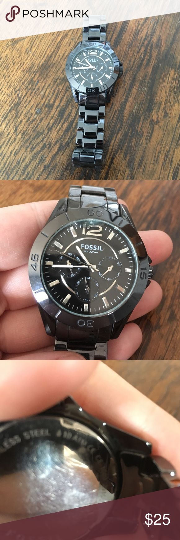 Fossil Watch Gorgeous black ceramic Riley face. Hidden butterfly closure. Tells the date and day of the week. Needs battery. Has a small crack in the crystal.  Fossil stores can send for repair. Fossil Accessories Watches