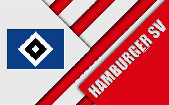 Download wallpapers Hamburger SV, 4k, red white abstraction, material design, HSV emblem, german football club, logo, Bundesliga, Hamburg, Germany