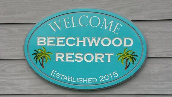 Personalized Welcome Outdoor Tropical Beach Sign Pool Resort Homedecor Christmasbeachsigns Beach Signs Pool Signs Lake House Signs