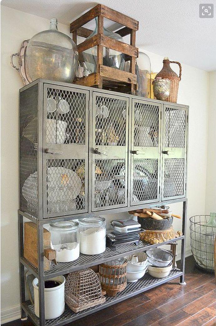 freestanding kitchen cabinets, kitchen storage ideas, furniture in the kitchen, hutch, metal mesh, industrial
