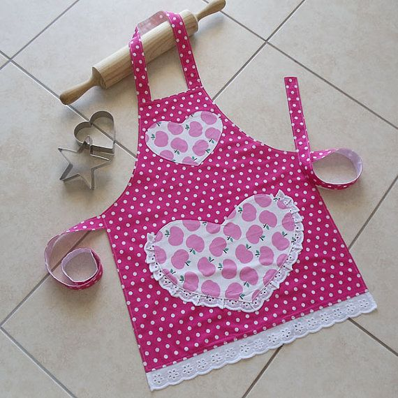 Kids Apron - Pretty in Pink - childs kitchen/craft/play apron - lined girls cotton apron with pocket - kids cute apples & spots print apron