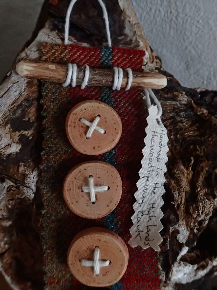 Wooden Buttons.  Natural Handmade from Beech x 5 by TheWoodlifeWay on Etsy