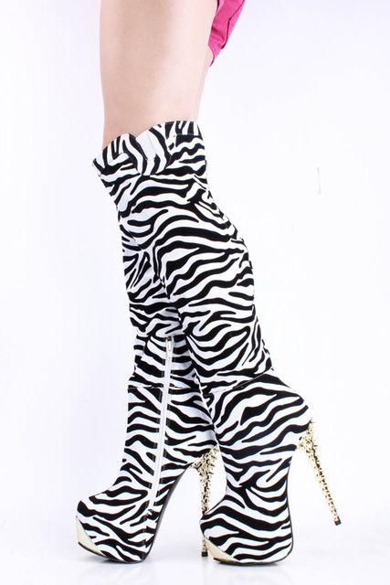 Linda Transparente Leopardo E Zebra Bombas de Camurça de Salto Alto Outono Sapatos de Festa Na Altura Do Joelho Botas De Cano Alto Com Zíper Tamanho 34 Sapatas Das Senhoras