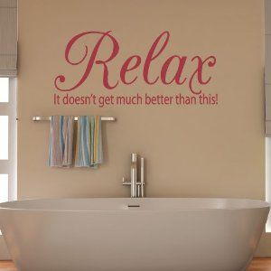relax quote vinyl wall art sticker bathroon diy home decoration decal 117 x 55cm white