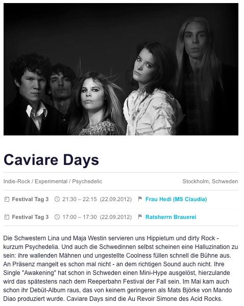 CAVIARE DAYS @ Reeperbahn Festival, Sep 22 2012