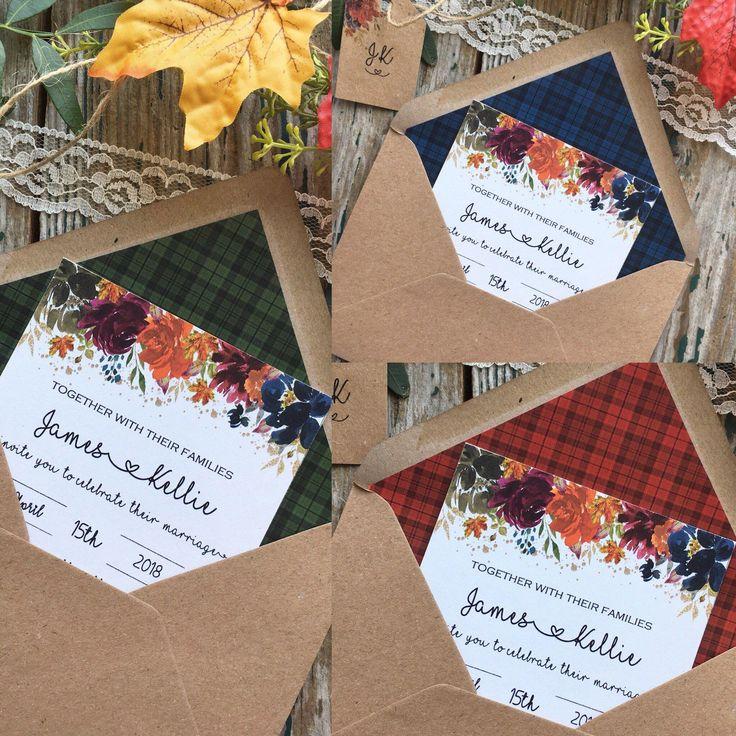 Scottish wedding invitations Autumn wedding, fall wedding, tartan wedding theme, wedding invites SAMPLE