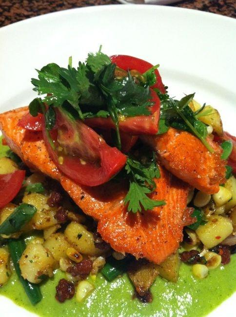 Alaskan Sockeye salmon w @IsabelleFarm potato hash, green bean, roast ...